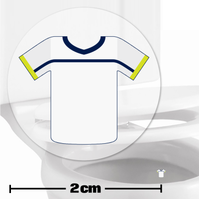 White Football Shirt Toilet Target Stickers 2cm