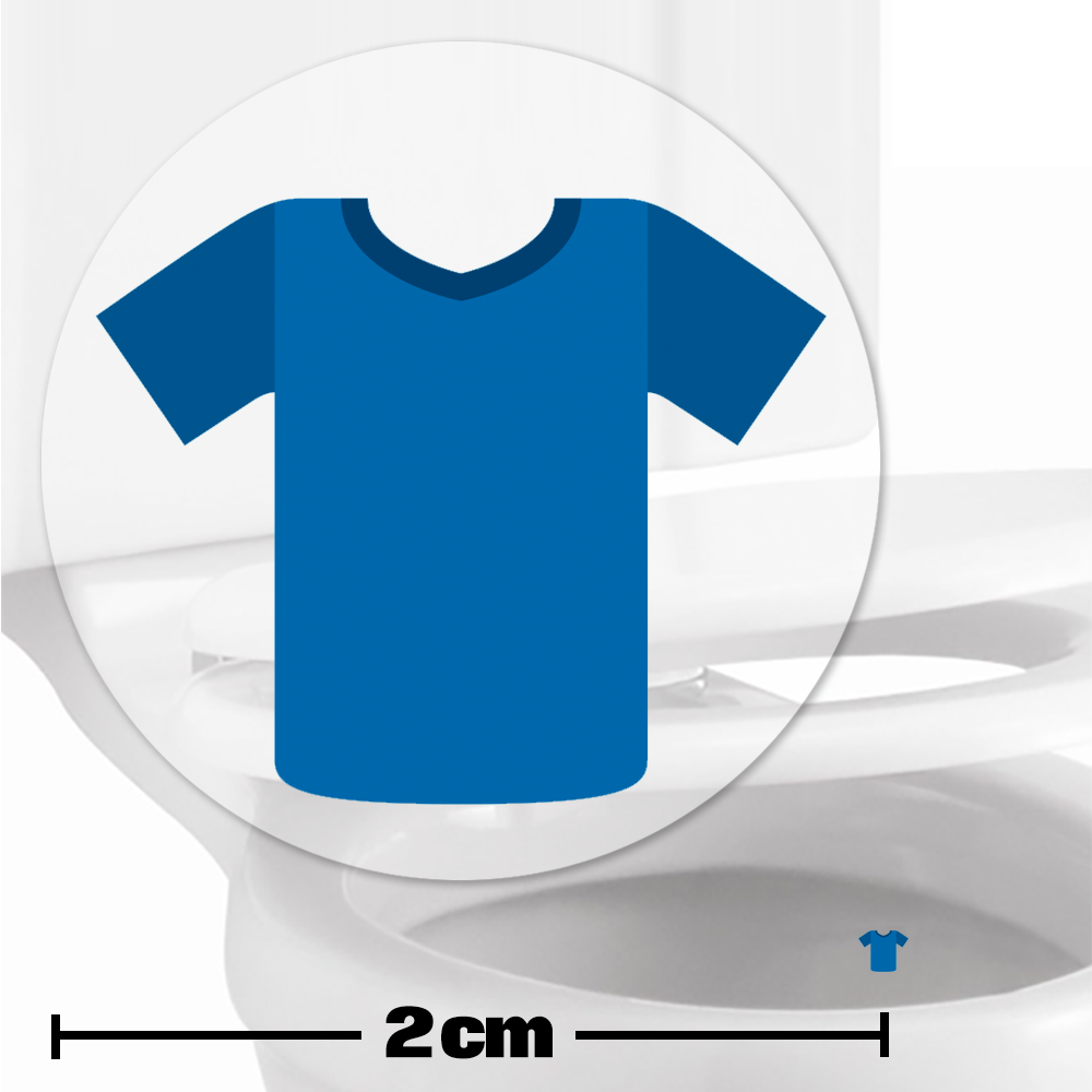 Blue Football Shirt Toilet Target Stickers 2cm