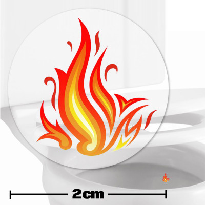 Flames Toilet Target Stickers 2cm