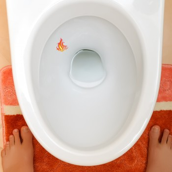 Flames Toilet Target Stickers 5cm