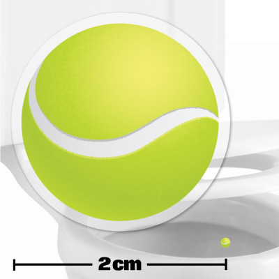 Tennis Ball Toilet Target Stickers 2cm