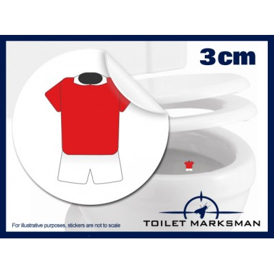 3cm Football Kit Toilet Target Stickers - Red Jersey With White Shorts